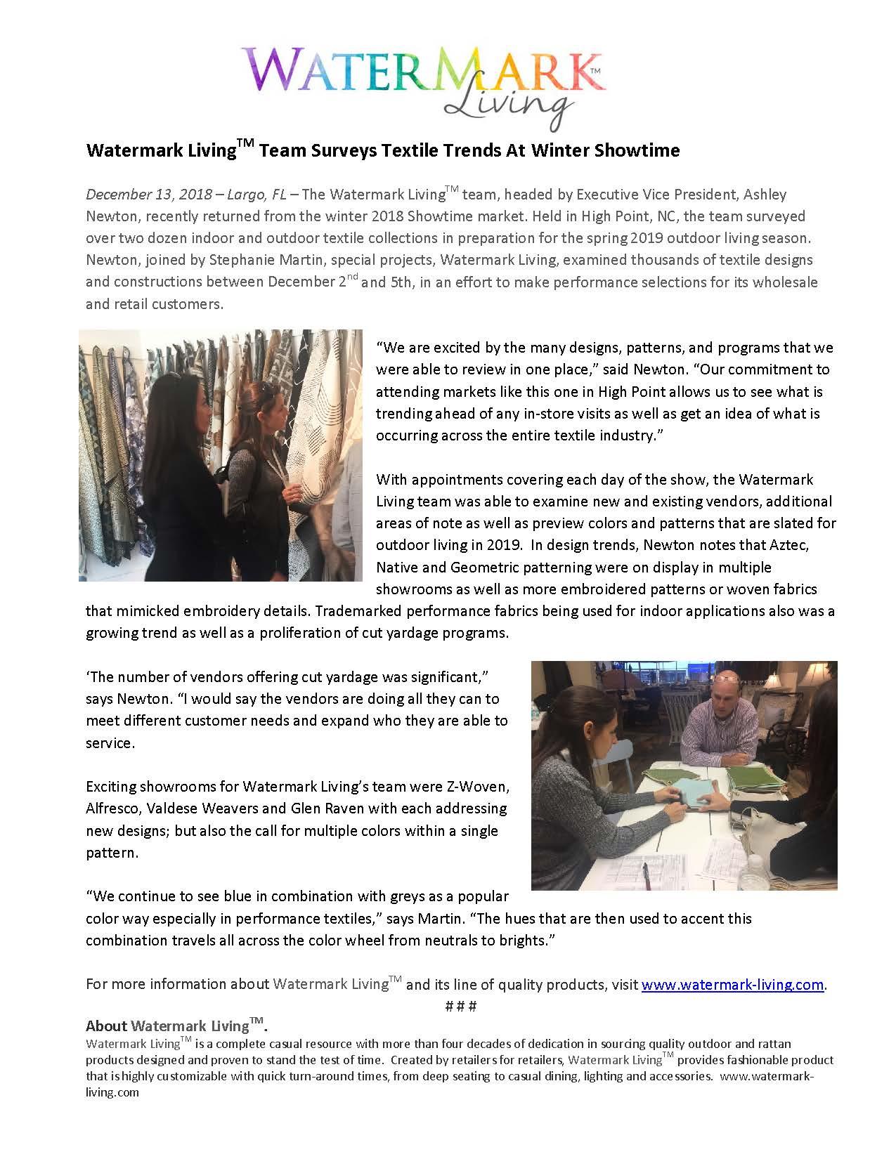 Watermark Living™ Team Surveys Textile Trends At Winter